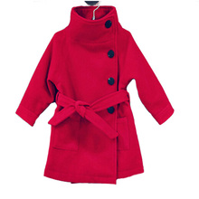 Filles laine manteaux d'hiver 2015 de mode de haute qualité chaud fille d'hiver outwear rouge gris violet enfants costumes de livraison gratuite