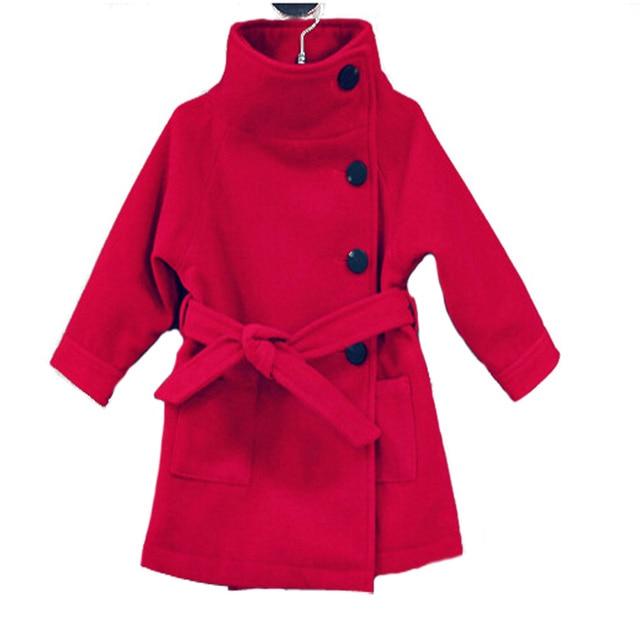 girls wool winter coats 2015 fashion high-grade warm girl winter outwear red grey purple children's costumes free shipping
