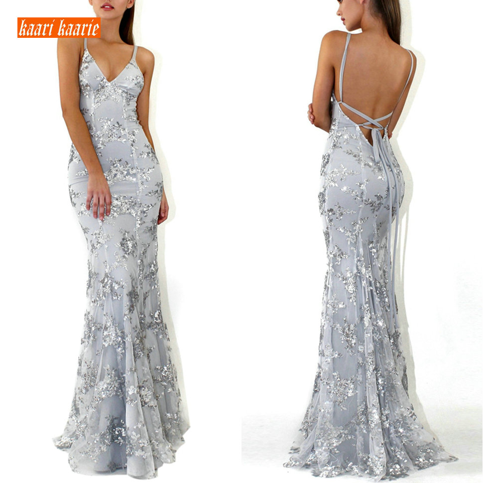 Elegant Silver Formal Dress Mermaid Evening Gowns 2019 Sexy Evening Dresses Long Party Tulle Embroidery Sequined Backless Women