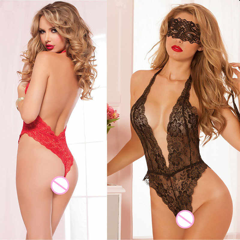89d6819cf9 2018 sexy lingerie hot Red black lace deep v neck sexy erotic underwear  bodysuit sexy sleepwear