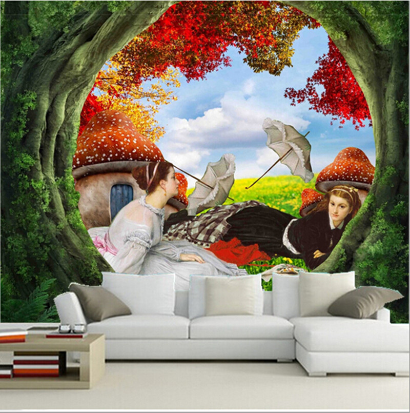 Custom 3D mural,3 d painting, two beautiful girls papel de parede ,living room  TV wall bedroom wallpaper. custom 3d wall murals wallpaper luxury silk diamond home decoration wall art mural painting living room bedroom papel de parede