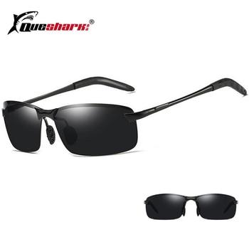 6dc44e76ac Hombres profesionales gafas de sol polarizadas de pesca medio marco versión  de la noche de conducción gafas Hombre Deporte al aire libre senderismo  pesca ...