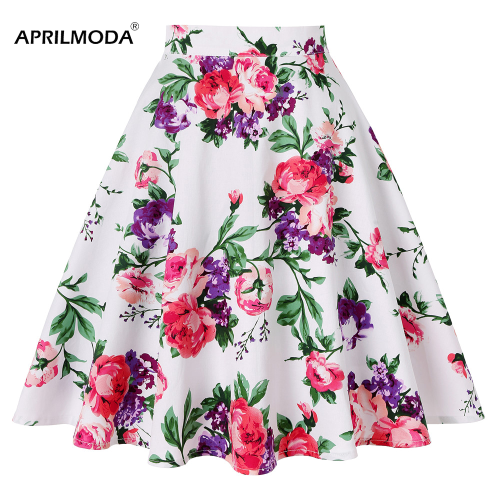 Cotton Floral 50s Retro Vintage Skirt 2019 New Arrival High Waist Big Swing Pinup Skirts Skater Harajuku 60s Pleated Midi Skirt