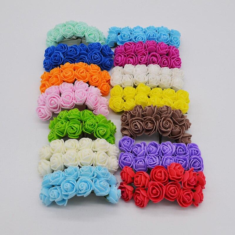 144pcs 2cm Mini Artificial Flower Multicolor PE Foam Rose For Romantic Wedding DIY Bride Headress Wreaths Supplies Party Decor 7