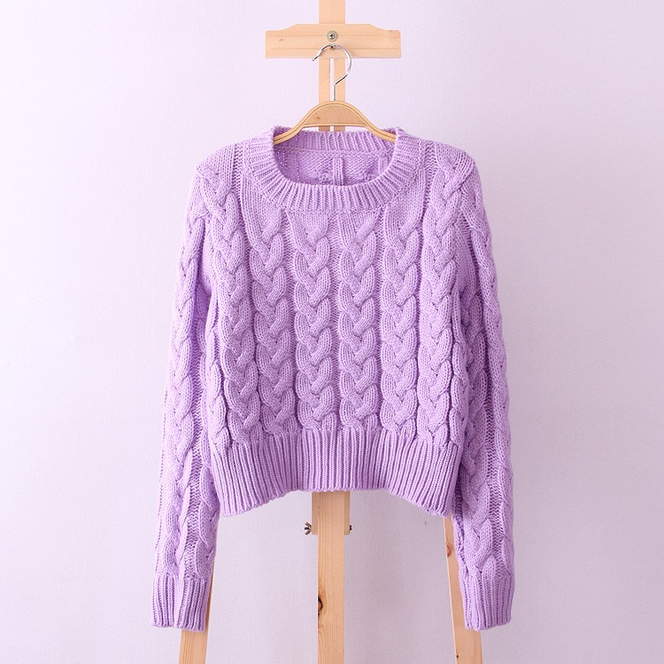 Retro Style Thick Line O-Neck Pullover Short Sweater Women Girl Spring 2016 (3)