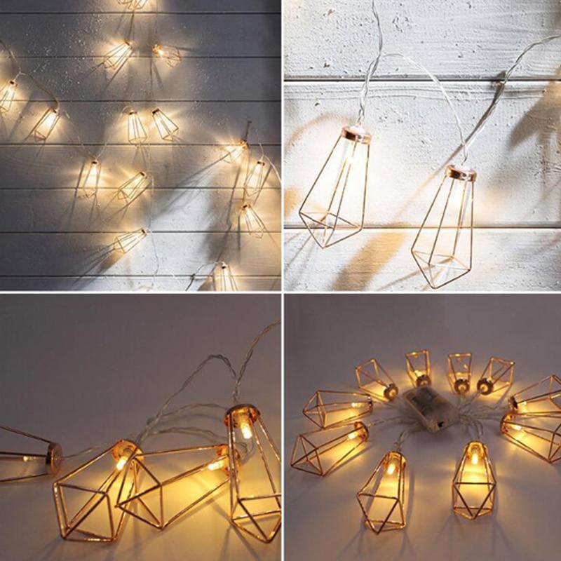 1.523 Meter Metal Lanterns Lamp Rose Gold Light String Garland Battery Powered Backyard Wire Light for Christmas Outdoor Decor (4)