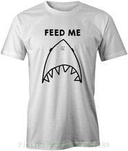 Nakarm mnie śmieszne jedzenie Novely Joke grafika drukowane Unisex T Shirt Tee Top pre-cotton Tee Shirt dla mężczyzn