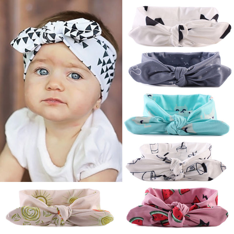 Baby Toddler Cute Girl Kids Turban Knot Rabbit Goemetric Watermelon Print Headband Bow Hairband Headwear rabbit print pullover