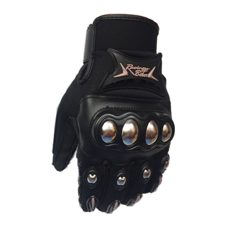 New Motocross Gloves Stainless Steel Motorcycle Gloves Black color Racing Protective gloves Moto Guantes Motocicleta Luvas