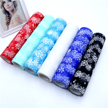 27cm/15cm X10Yard Mesh Roll Tulle Snowflake Fabric for Tutu Skirt Table Runner Chair Sash Wedding Decoration DIY Gift