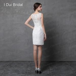 Image 5 - שמלת כלה עם נתיק חצאית אשליה תחרה חזרה שני דרך ארוך קצר במפעל מותאם אישית להפוך Vestidos Casamento