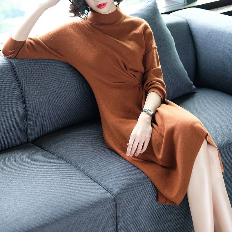 Winter Autumn Women's Fashion Slim Turtleneck Long Sleeve Solid Soft Knitted Dress Female Plus Size Sweater Christmas Dresses fashion 2018 women autumn winter sweater dresses slim turtleneck sexy bodycon solid color robe long knitted office ol dress 1089