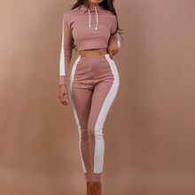 Tracksuits Striped Hooded Crop Tops Women Elastic Pants Jogging Female Two Pieces Sets 2020 Spring Ladies Fashion Bodycon Suits(China)
