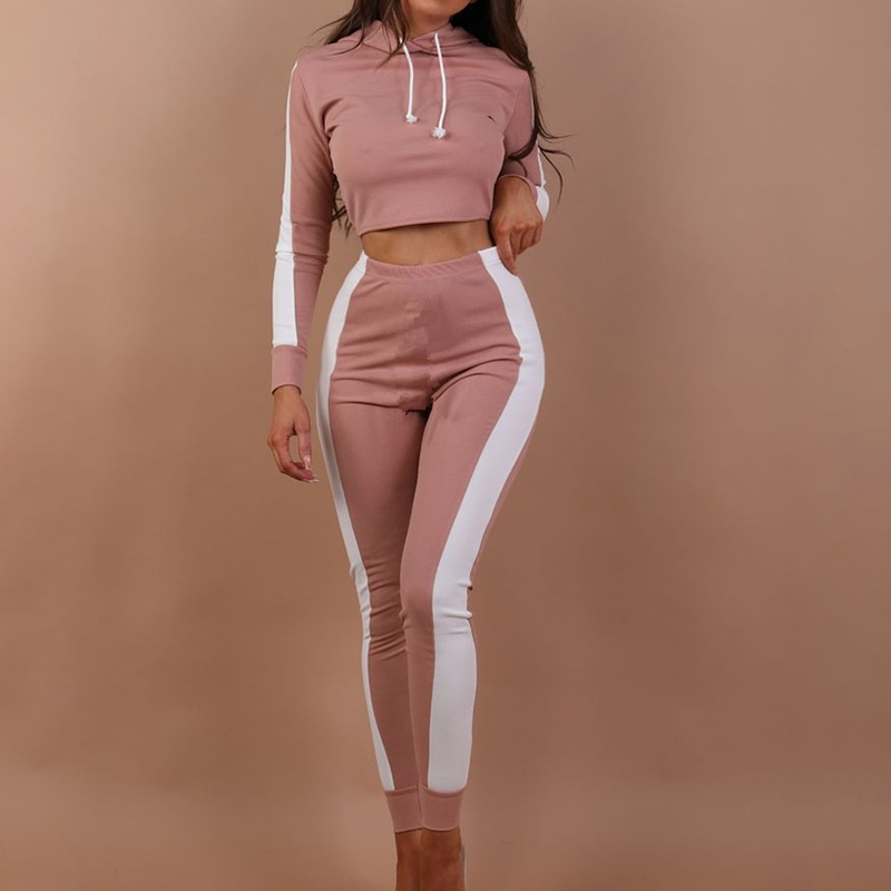 Tracksuits Women Set Striped Hooded Crop Tops Elastic Pants Jogging Ladies Tracksuits 2020 Spring Bodycon Female Two Pieces Sets