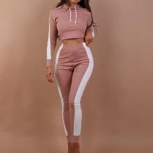 Women Striped Tracksuits Hooded Crop Tops Elastic Pants Fema