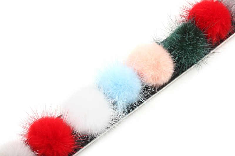 ¡Novedad de 2019! Bolso de piel de visón con bola de pelo dividida cinturón de diseño moderno bolsos Correa piezas para mochilas accesorio fácil de combinar qn288