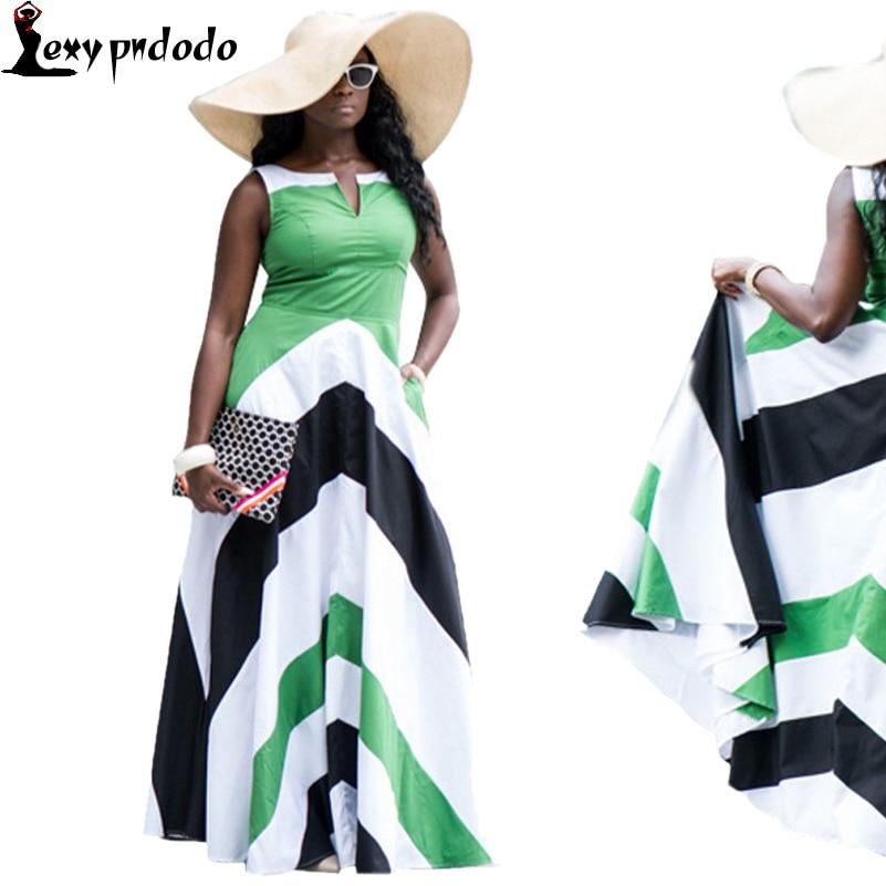 Summer Casual Vestidos Striped Print Bohemian A-line Sleeveless long dress Women Plus Size Elegant Office Dress dashiki Dresses