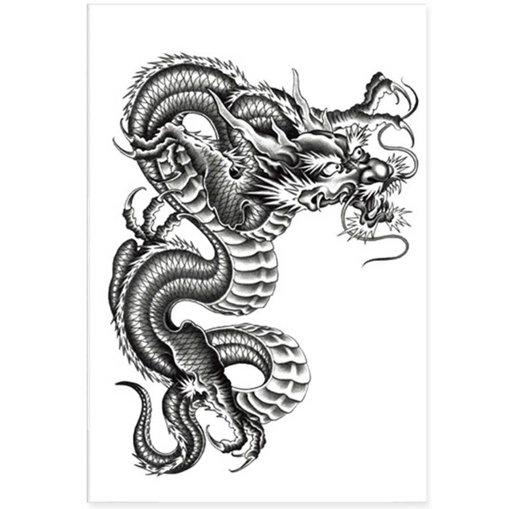 Tatuaje 3D Negro Dragón temporario removible resistente al agua brazo pierna adhesivo decorativo para el cuerpo