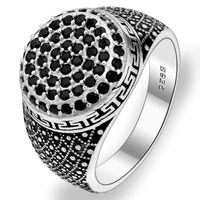 BELLA Fashion Men 925 Sterling Silver Black Multi Layer All Gems Ring Size 10 11 Silver