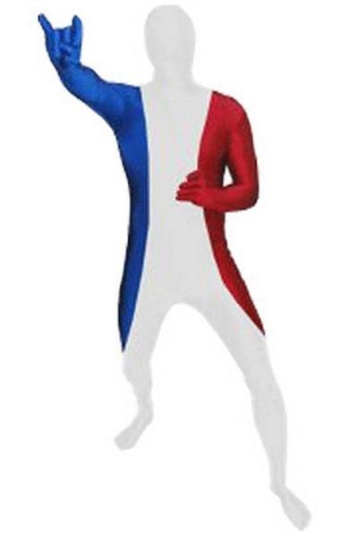 France Flag Zentai Second Skin Suit Fancy Dress Costume Spandex Lycra