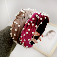Korean fashion headband Soft Velvet Knot Wide Hairband with Pearl Solid Color bohemian beach hair bow accessory barrettes