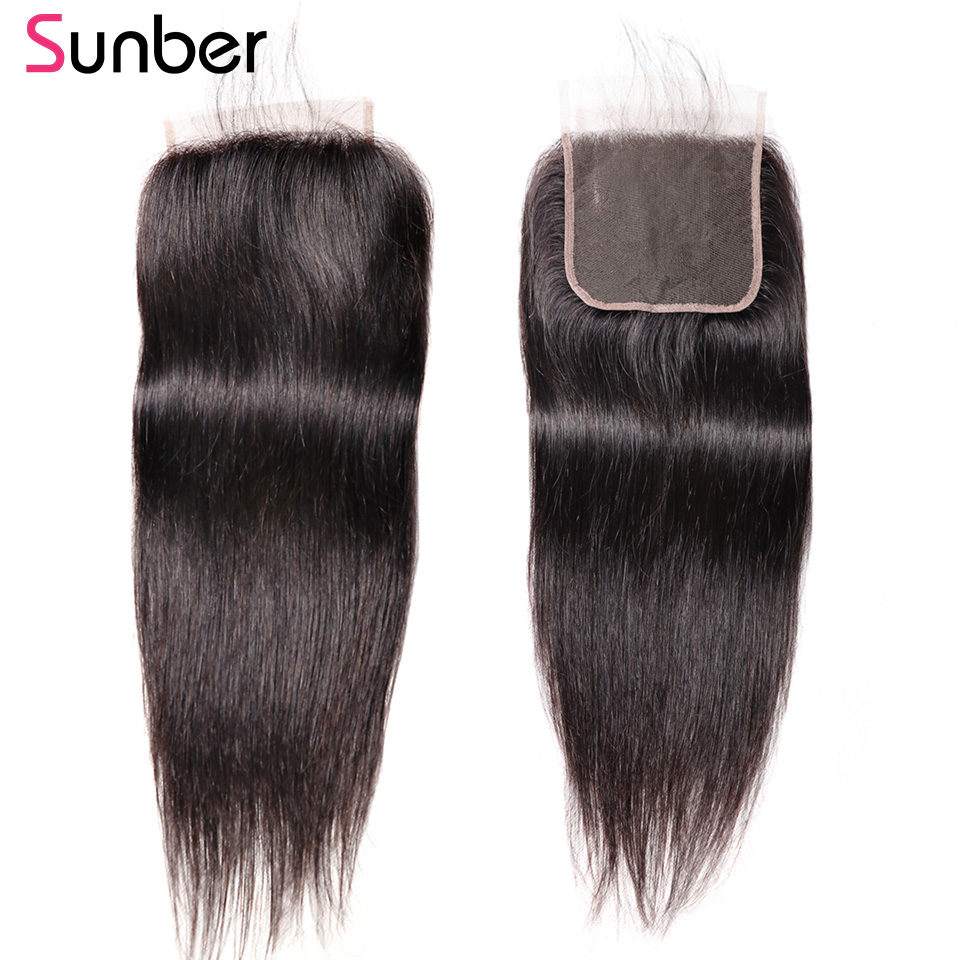 Sunber Straight 5X5 Lace Closure With Free Parting 8 18inch 100 Brazilian Remy Human Hair Closure