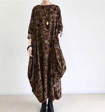 2016 Autumn font b Dress b font National Trend Vintage Printed Long Sleeve Plus Size Long