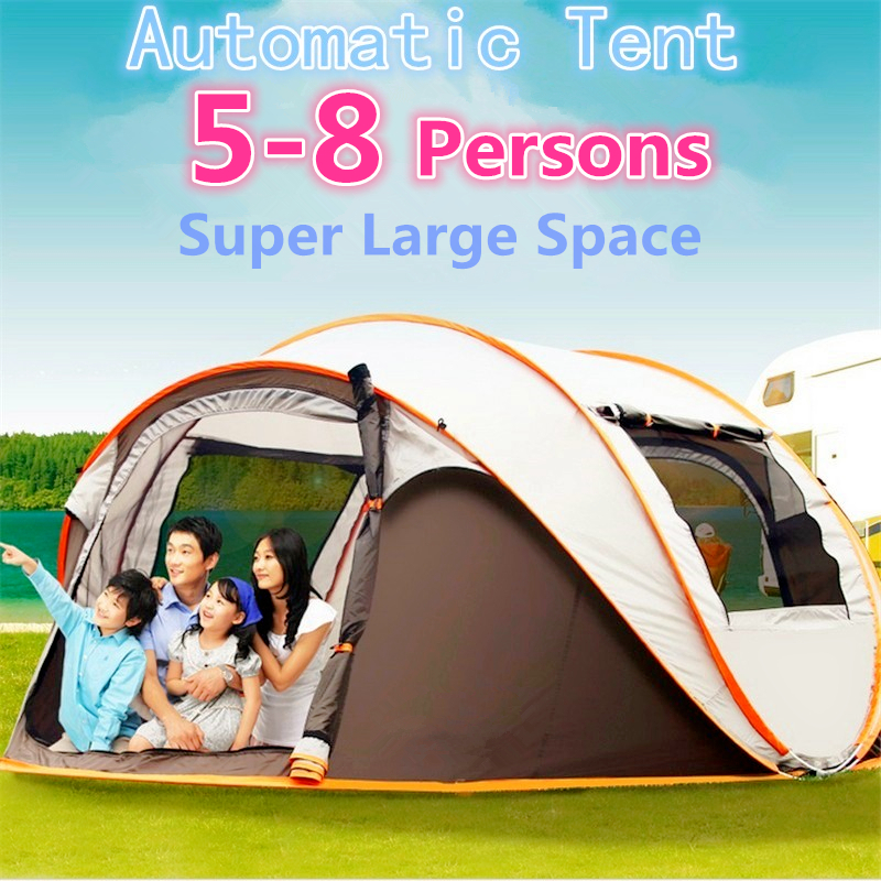 4 8 Person 280 200 120cm Big Size Camping Automatic Tent Waterproof Windproof One Second Open