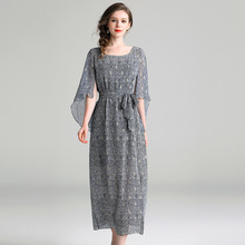 Casual Dress Women 2019 Spring Summer New Printed Round Neck Flare Half Sleeves Slim A-Line Midi Dress Elegant S-XL lace dress women elegant 2019 spring summer new stripes printed round neck three quarter sleeved slim a line midi dress s xxl
