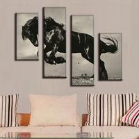 4 Pcs Set Large Canvas Paintings Jumping Black Horse Canvas Print Artist Canvas Modern Home Decor
