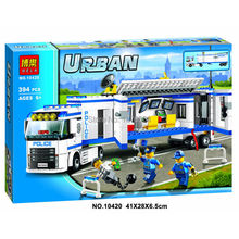394pcs New 10420 city police fluidity Police Station building blocks assembled kids font b toys b