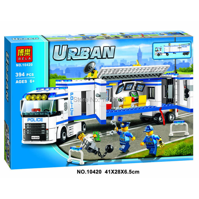 394pcs New 10420 city police fluidity Police Station building blocks assembled kids toys Compatible With font