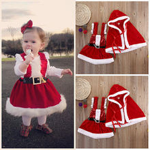 Infant Baby Girl Santa Dress Cloak Coat Party Christmas 2pcs Outfits Set Clothes Costumes