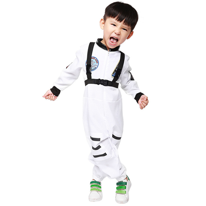 Children Boy Girl Astronaut Jumpsuit Halloween Kid Book Week School Party Astronaut Cosplay Costume