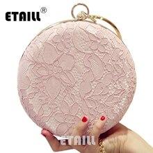 ETAILL, розовый, кружевной, Цветочный, женский клатч, цветок, бриллианты, женская вечерняя сумка, s, круглая, на цепочке, на плечо, кошелек, вечерние, вечерняя сумка