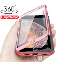 H&A Luxury 360 Full Protection Phone Case For iPhone XS MAX XR X Coque Case For iPhone 6 6s 7 8 Plus Case 5 5S SE Cover Glass