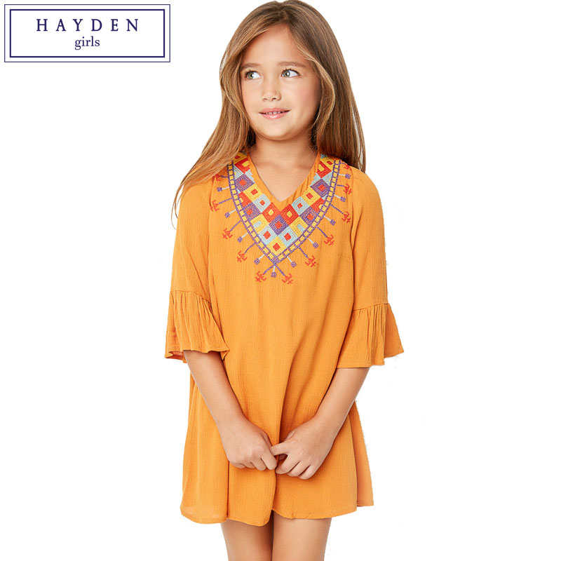 HAYDEN Girls Boho Ethnic Dress Designs Teenage Girls National Embroidered Dresses Flare Sleeve Loose Fit Dress
