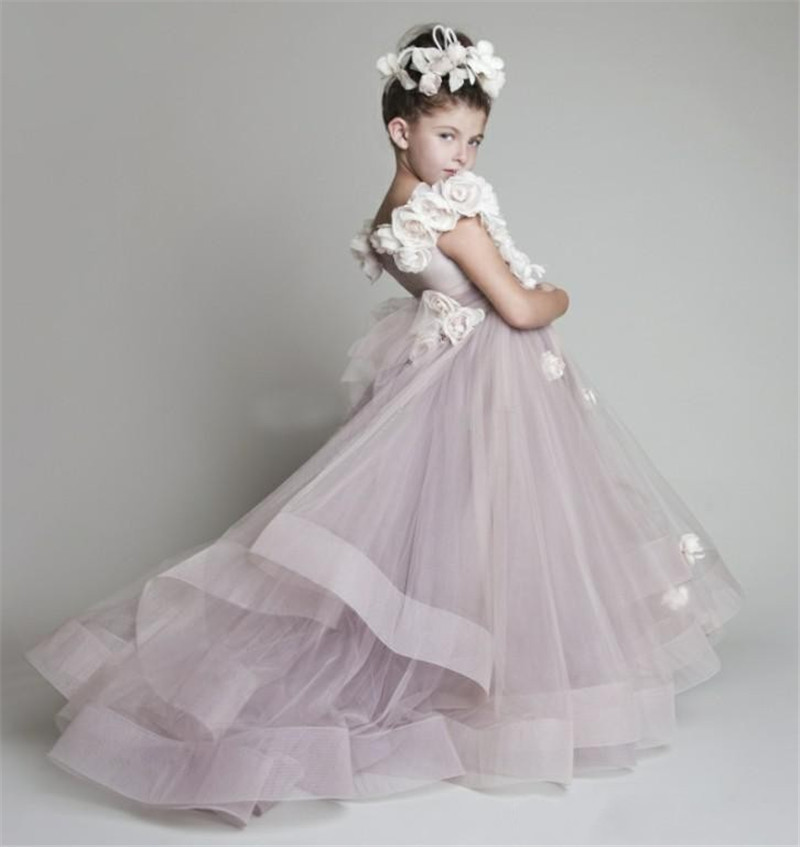 Charming Handmade   Flowers   Tulle Floor Length   Flower     Girl     Dresses   for Weddings Party Custom Made