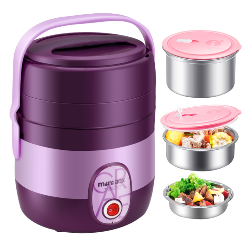 Electric Lunchbox Rice Cooker Three Layers Insulation Portable Plug In Heating Cooking 2.1L 1-2 People rice cooker parts paul heating plate 900w thick aluminum heating plate