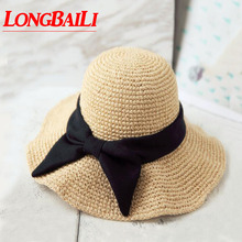Summer Large Bow Handmade Women Straw Sun Hat Female Wide Brim Folding Beach Caps Free Shipping WMDS-020