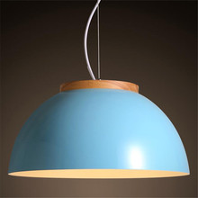 Modern Fashion Nordic White/Blue Iron Wood Led Pendant Light for Restaurant Dining Room Restaurant Lamps AC80-265V Dia 36cm1516