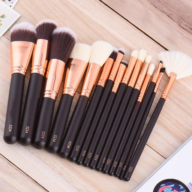 15 pcs/set Makeup Brush Set Pro Foundation Powder Concealer Contour Eyeliner Eyeshadow Cosmetic Eye Lip Cosmetic Brushes Tool
