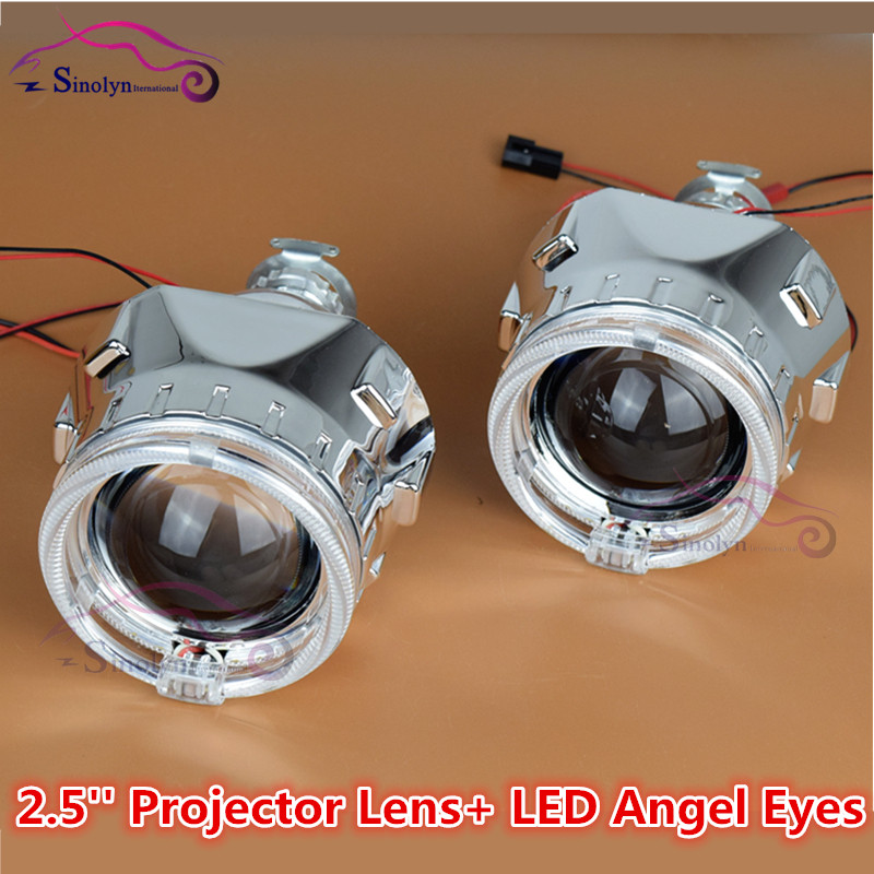 ФОТО 2.5 inch LED Angel Eyes Halo HID Bi xenon Projector Lens Headlight LHD RHD Headlamp Lenses Retrofit Car Styling