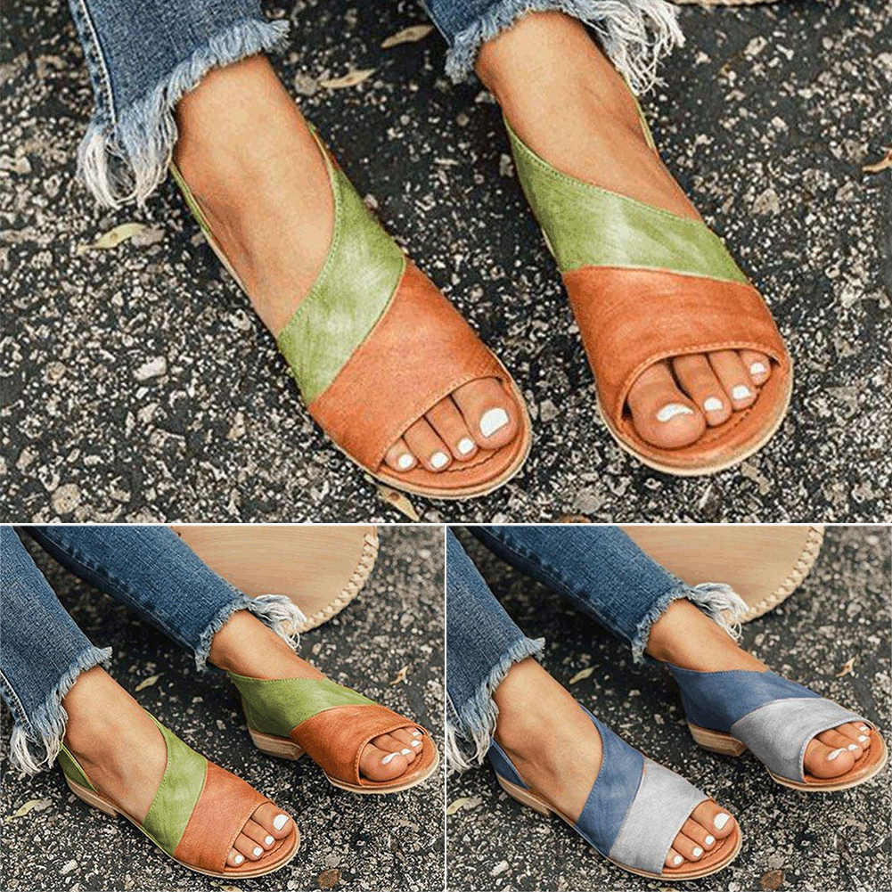 13e871491c Women Daily Low Heel Panel Sandals Summer Beach Daily Low Heel Women PU  Leather Open Toe Slip-on Sandals Walking Flat