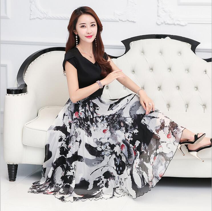 2018 summer new fashion elegant printing Patchwork vestidos Petal sleeve V-Neck Mulberry ...