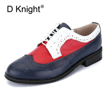 New Brogue Shoes Woman Mixed Colors Genuine Leather Oxfords Vintage Handmade Ladies Casual Lace Up Flats Oxford Shoes For Women