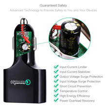 Quick Car Charge 2.0 54W 4-Port USB Car Charger Adapter