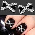 Hot 10 unids/set Metal 3D Rhinestone Bowknot pajarita Nail Art Salon Stikers consejos brillos DIY decoraciones 67SZ