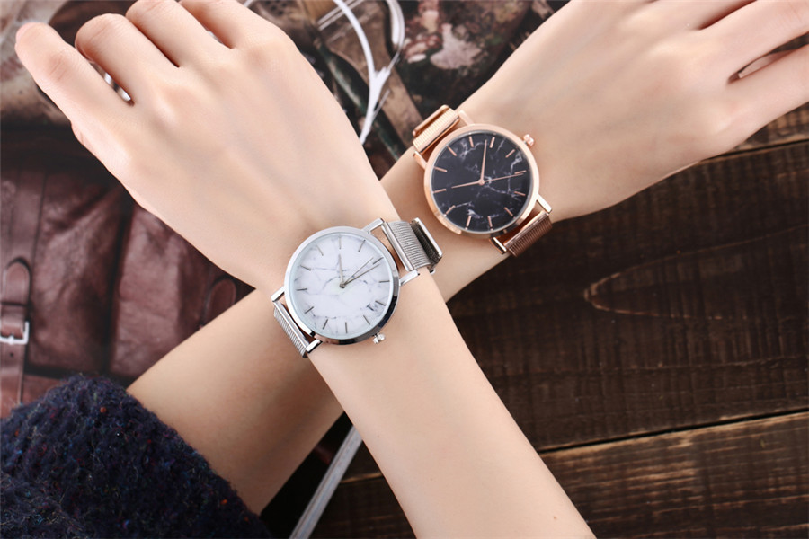 Vansvar Brand Fashion Silver And Gold Mesh Band Creative Marble Wrist Watch Casual Women Quartz Watches Gift Relogio Feminino 1