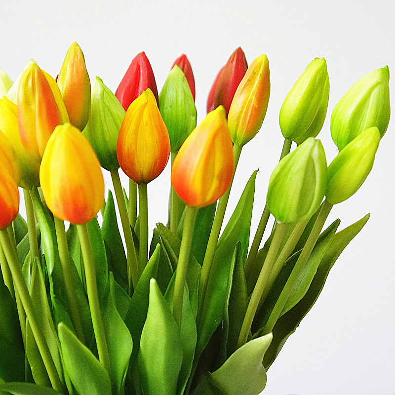 44cm Real touch soft silicone Artificial 7Pcs/bunch tulips home decoration Fake flower wedding  bridal handing flowers tulip-2